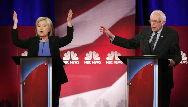 Clinton e Sander in un dibattito tv