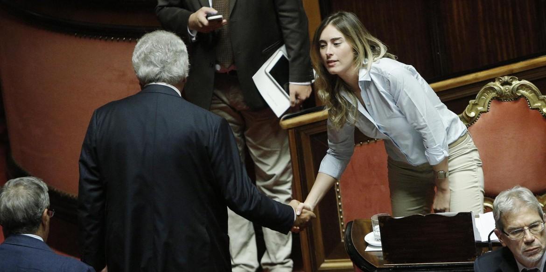 Denis Verdini con la ministra Maria Elena Boschi