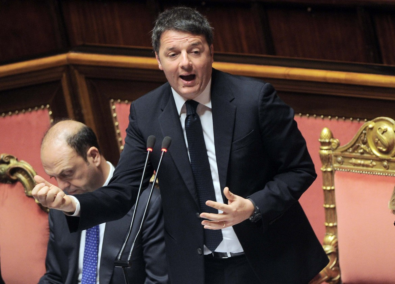 Matteo Renzi in senato con Alfano