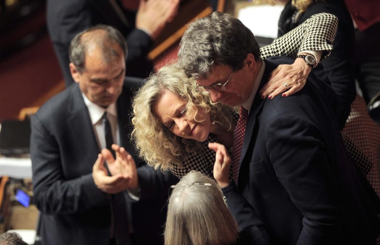 La relatrice del testo sulle unioni civili Monica Cirinnà (Pd) ieri in aula al senato