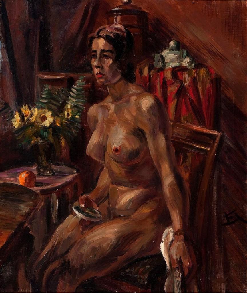Henri Le Fauconnier, «Nudo seduto in un interno», 1932
