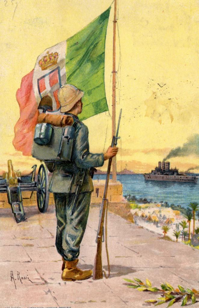 Una cartolina che celebra l'intervento in cirenaica, 1911