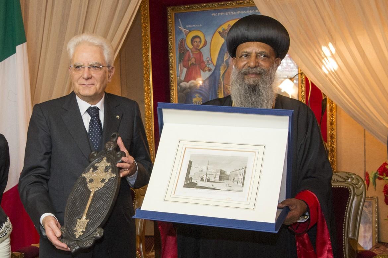 Sergio Mattarella a Addis Abeba con Abune Matthias I, patriarca della chiesa ortodossa etiope