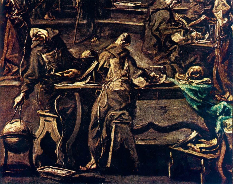 Alessandro Magnasco, «La biblioteca del convento» (part.)