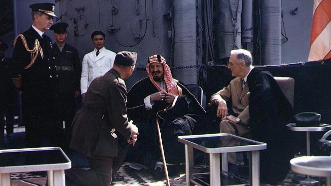 Re Ibn Saud con il presidente americano Franklin D. Roosevelt