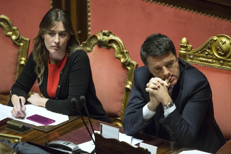 La ministra delle Riforme Maria Elena Boschi e il presidente del consiglio Matteo Renzi