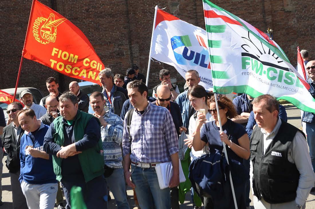 Una protesta dei sindacati metalmeccanici