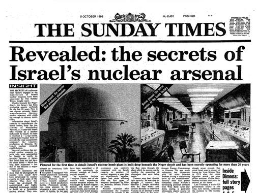 L'articolo pubblicato nel 1986 dal Sunday Times grazie alle rivelazioni di Vanunu