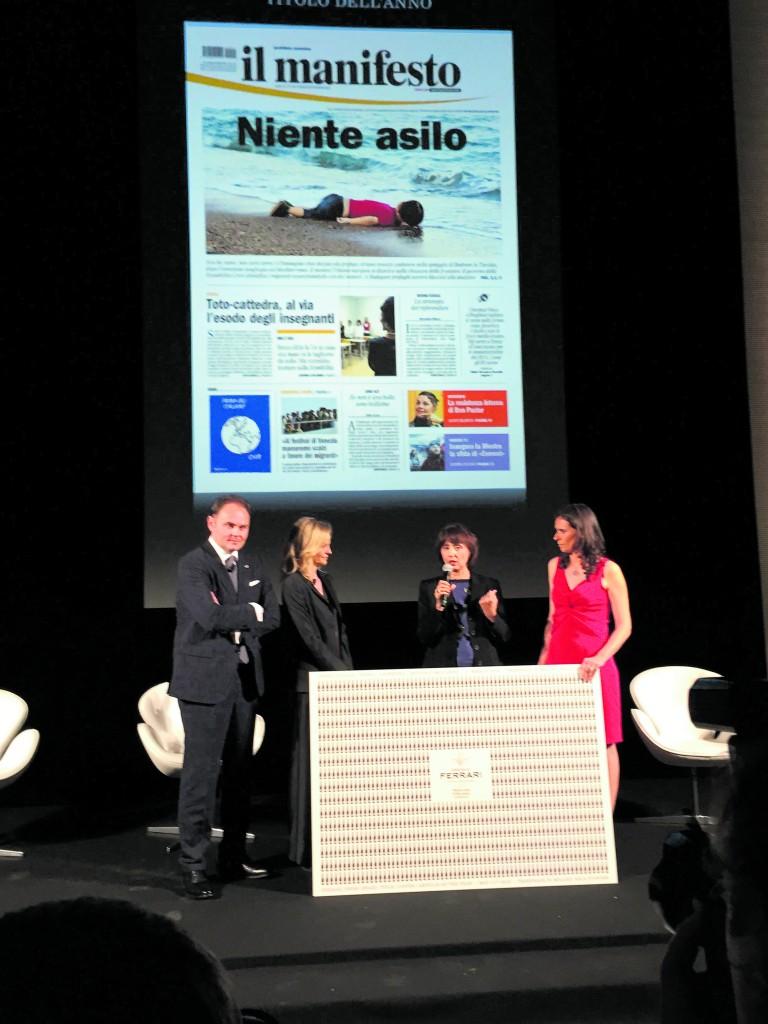 Triennale di Milano, mercoledì 11 maggio. Al centro Norma Rangeri e Sarah Varetto (direttrice di SkyTg24) con Camilla e Matteo Lunetti, proprietari delle Cantine Ferrari