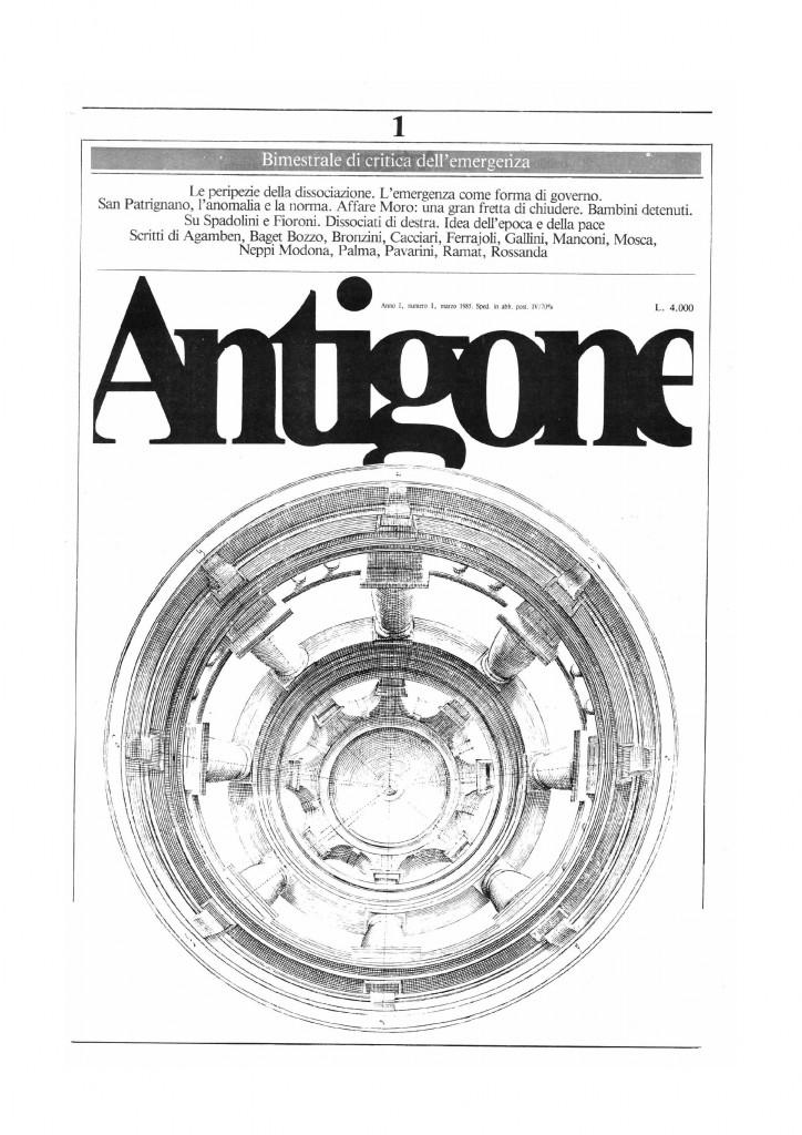 La copertina del primo numero di Antigone, rivista allegata al manifesto, marzo 1985