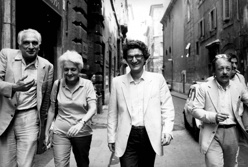 Marco Pannella con Rossana Rossanda, Toni Negri e Jaroslav Novak