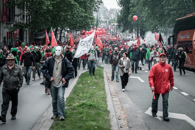 Un momento della manifestazione di Bruxelles