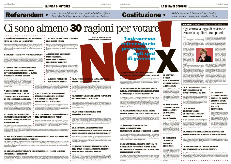 La pagina del manifesto con le 30 ragioni per il no