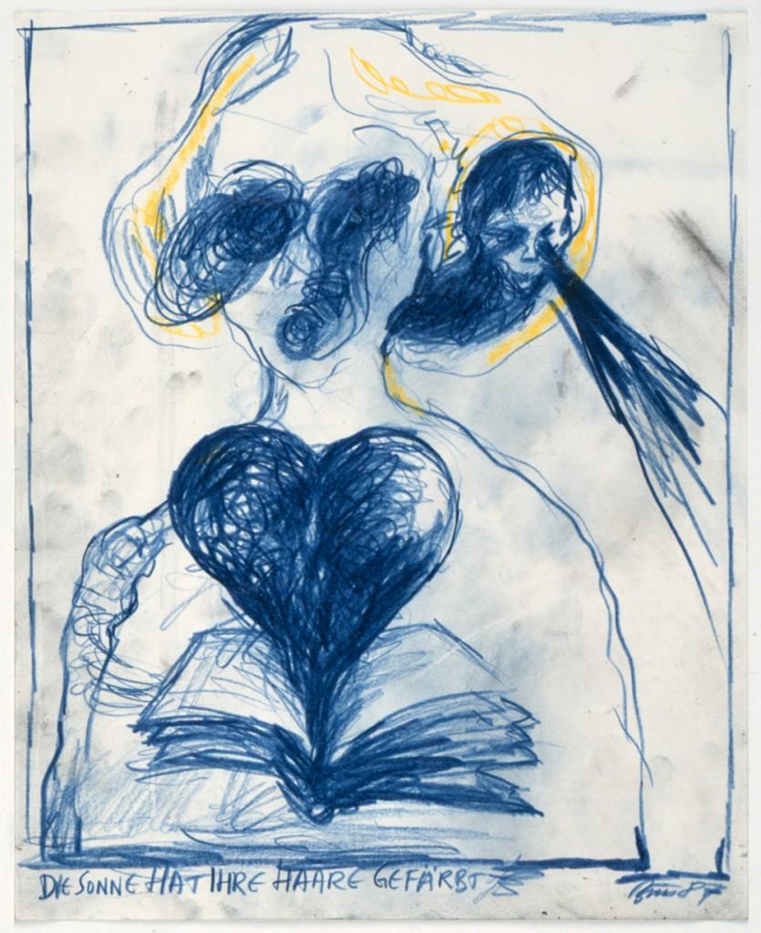 Un disegno dell'azionista viennese Guenter Brus esposta nella mostra