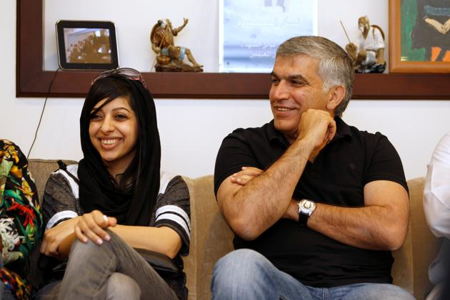 Nabil Rajab assieme a Zaynab al Khawaja