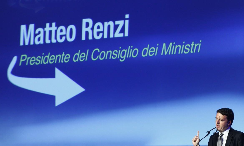 Matteo Renzi all'assemblea di Confindustria a Bergamo nell'ottobre 2014