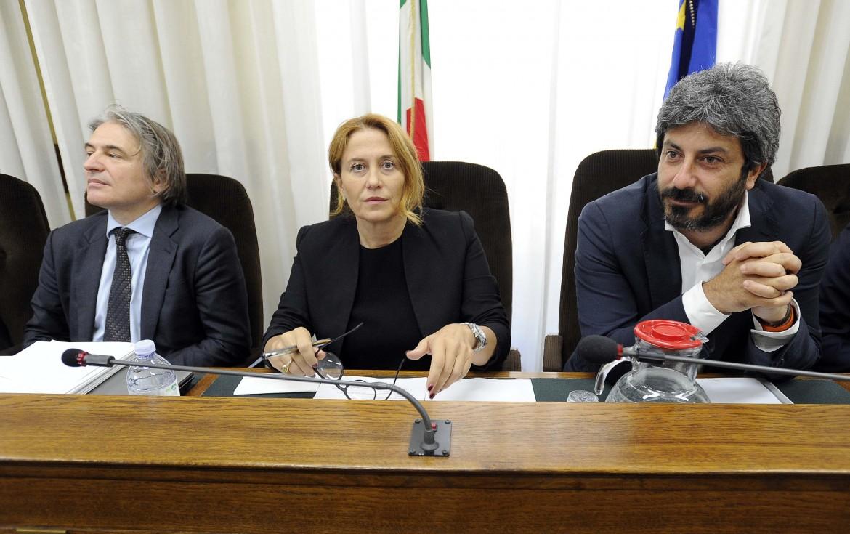 Il dg Rai Campo Dall'Orto, la presidente Maggioni e il presidente della Commissione Vigilanza Fico