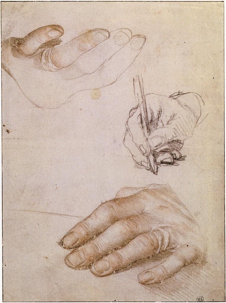 Hans Holbein il Giovane, studi per il ritratto di Erasmo, circa 1523, Parigi, Louvre