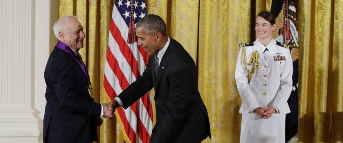 Obama con Mel Brooks
