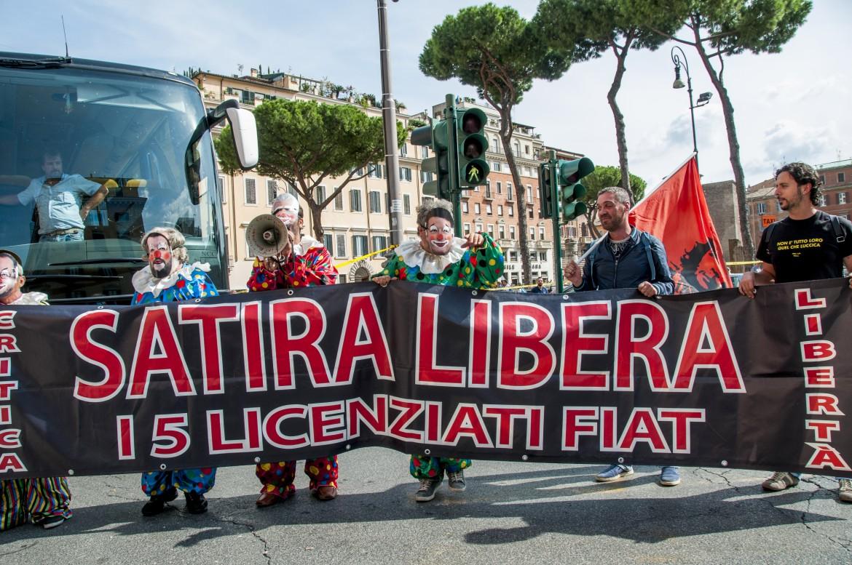 La protesta dei lavoratori di Pomigliano