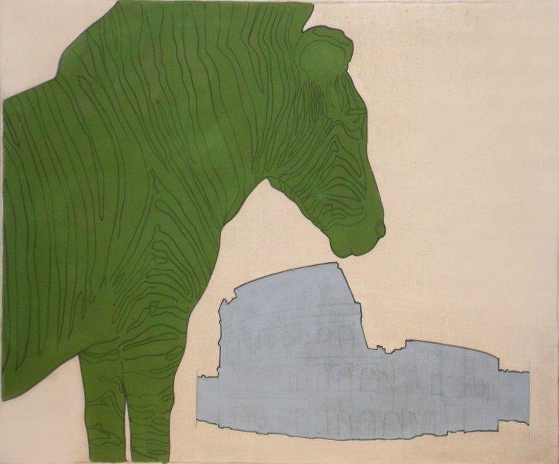 Renato Mambor, «Zebra e Colosseo», 1965