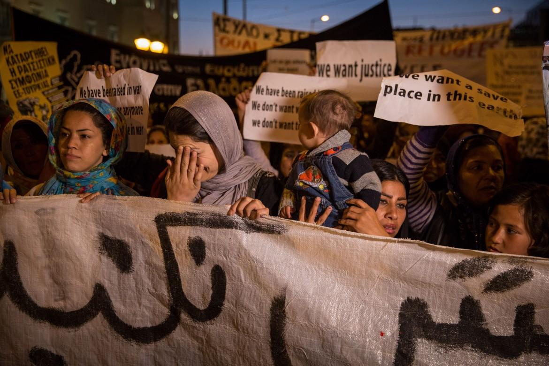 Marcia di protesta dei rifugiati afgani ad Atene