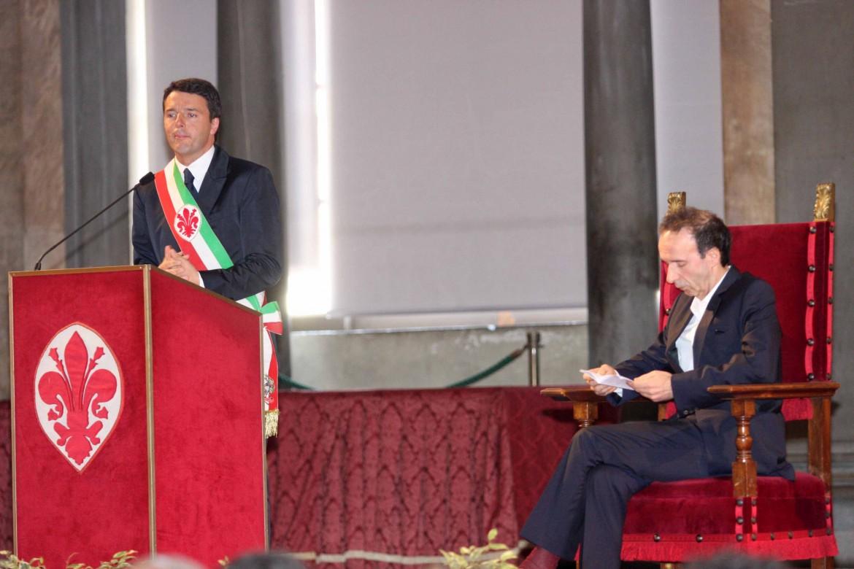 Matteo Renzi e Roberto Benigni