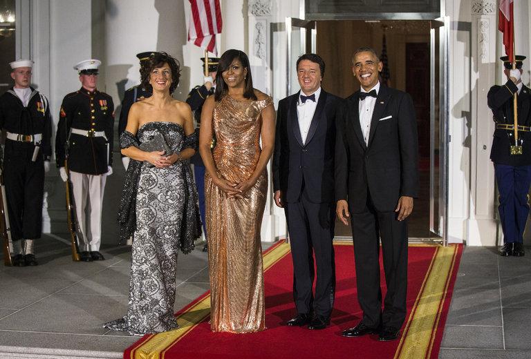Agnese Landini, Michelle e Barack Obama, Matteo Renzi allo State dinner presso la Casa bianca