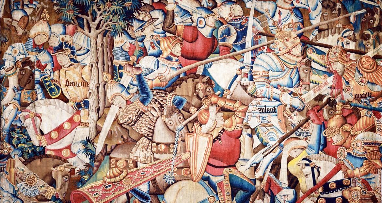 «La battaglia  di Roncisvalle»,  c. 1475-1500, arazzo in lana e seta, © Victoria & Albert Museum