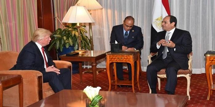 Il presidente Usa Trump insieme ad al-Sisi