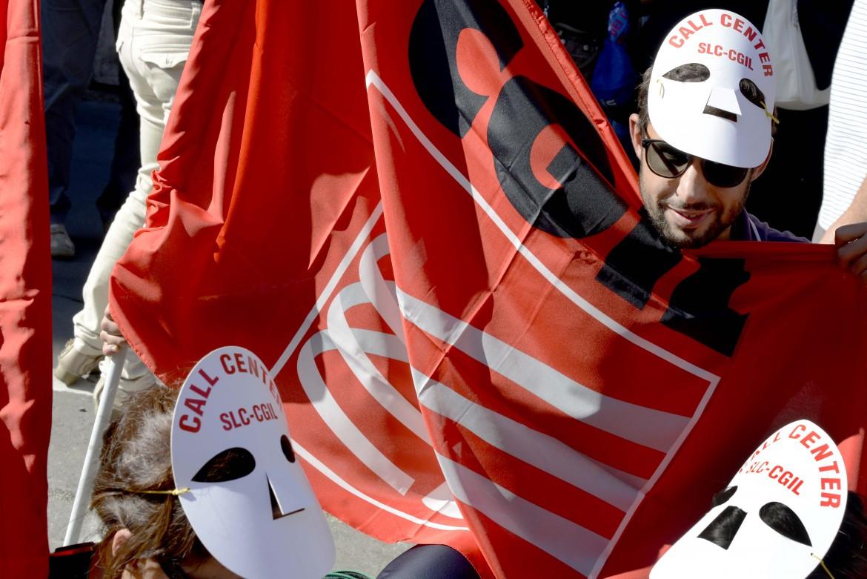 La protesta dei lavoratori Almaviva