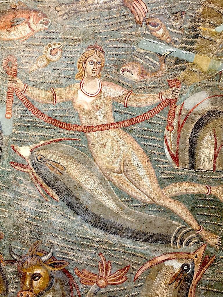 Particolare di un mosaico a soggetto marino, al museo Bardo di Tunisi