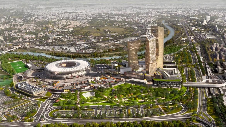 Il rendering dell'area del nuovo stadio della Roma