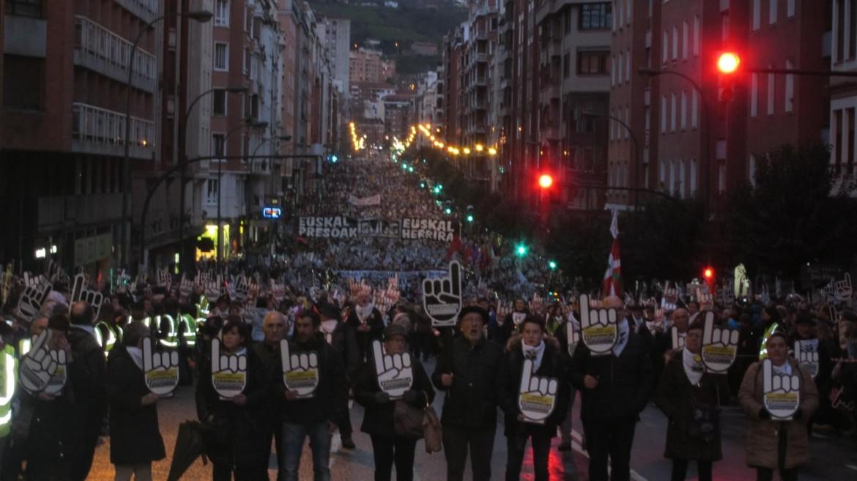 La manifestazione di ieri a Bilbao