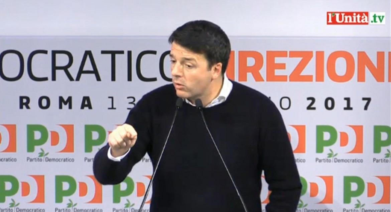 Matteo Renzi in direzione il 13 febbraio 2017