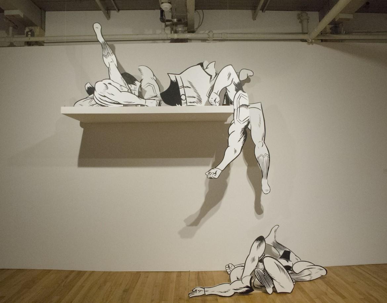 Una installazione di Jim Shaw, «Superman body parts» (2011)