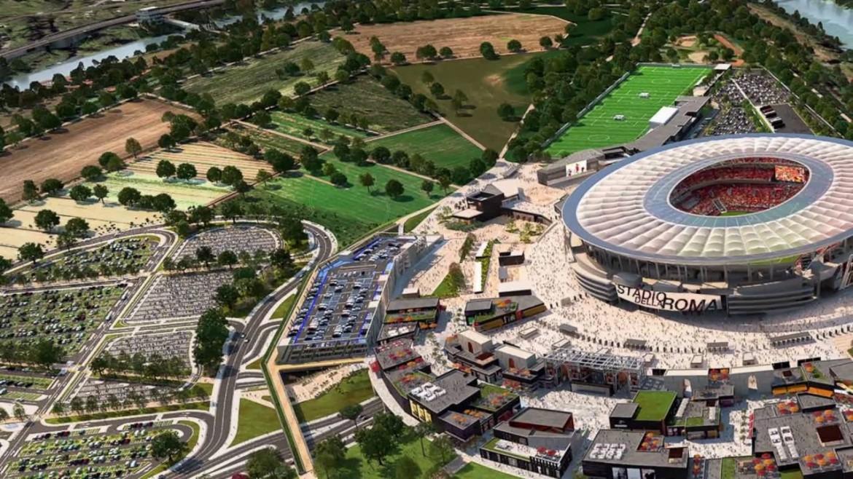 Il rendering del progetto Stadio della Roma