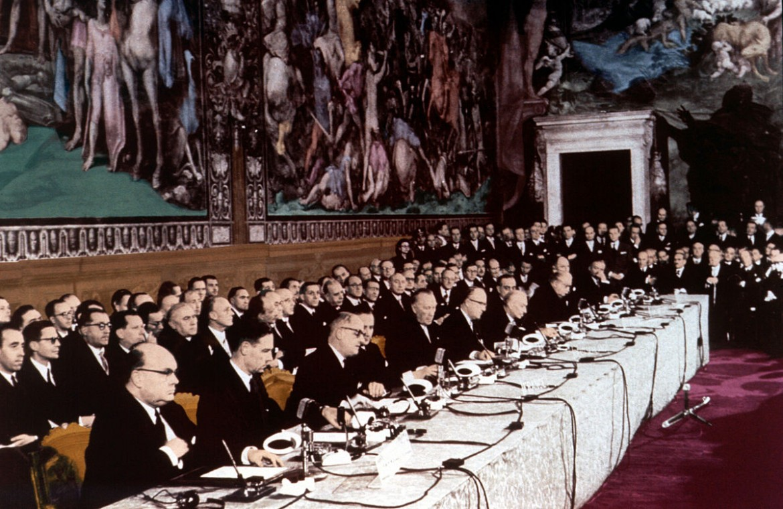 La firma in Campidoglio del Trattato di Roma del '57