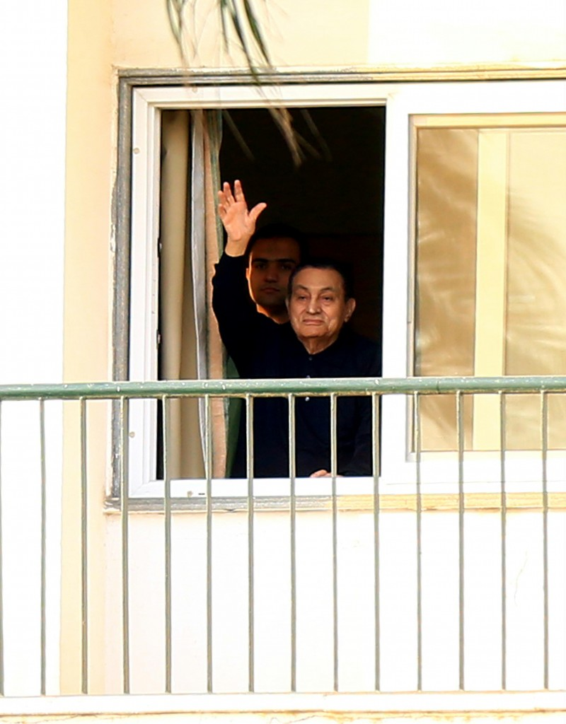 L'ex presidente egiziano Mubarak dall'ospedale militare da cui è stato rilasciato ieri