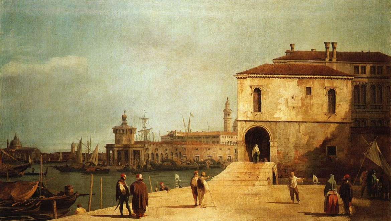 Canaletto, Fonteghetto della Farina, la prima sede dell'Accademia