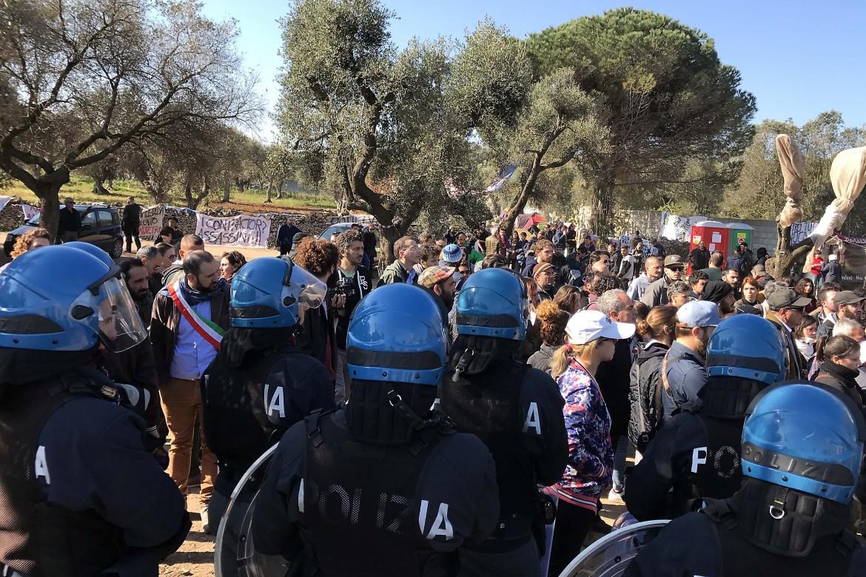 La protesta di ieri a Melendugno