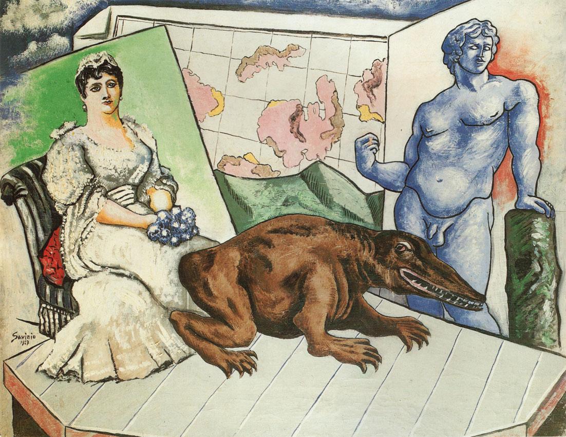 Alberto Savinio, «Atlante», 1927, finito sulla copertina  della prima edizione Adelphi di «Nuova enciclopedia» (1977)