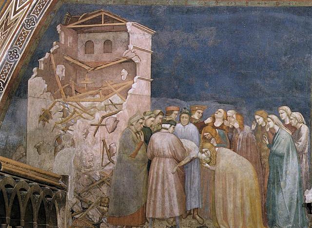 Uno dei tre affreschi del ciclo giottesco di Francesco nel transetto della basilica inferiore di Assisi: La morte del fanciullo a Suessa