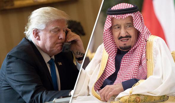 Nel fotomontaggio, Trump e re Salman dell'Arabia Saudita