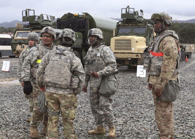 Soldati Usa nella base congiunta statunitense e sudcoreana a Phang
