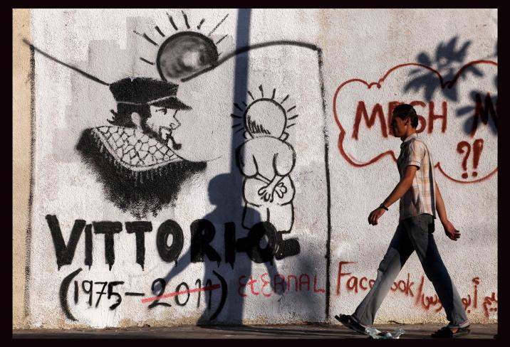Un murale per Vittorio Arrigoni a Gaza City