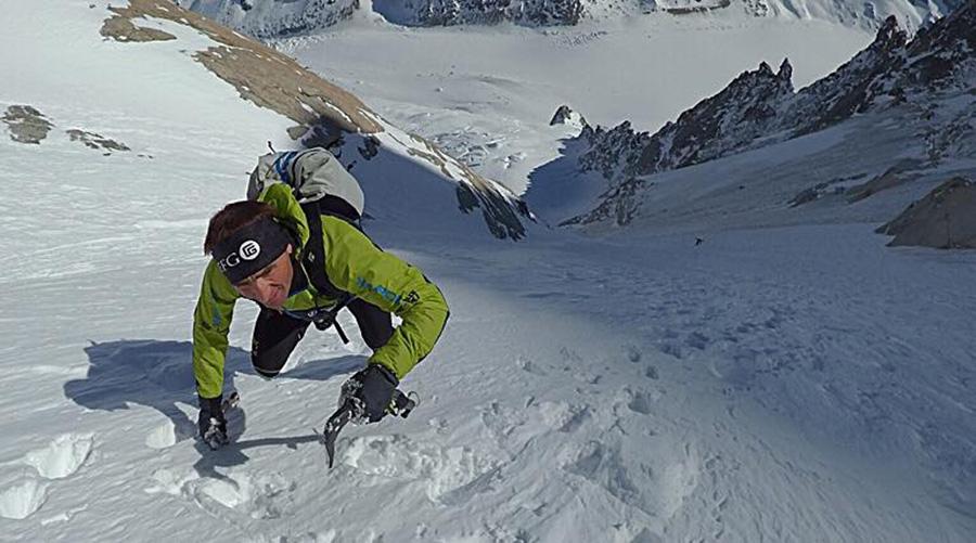 Steck in allenamento nel massiccio del Monte Bianco per la traversata Everest - Lhotse - Photo by
