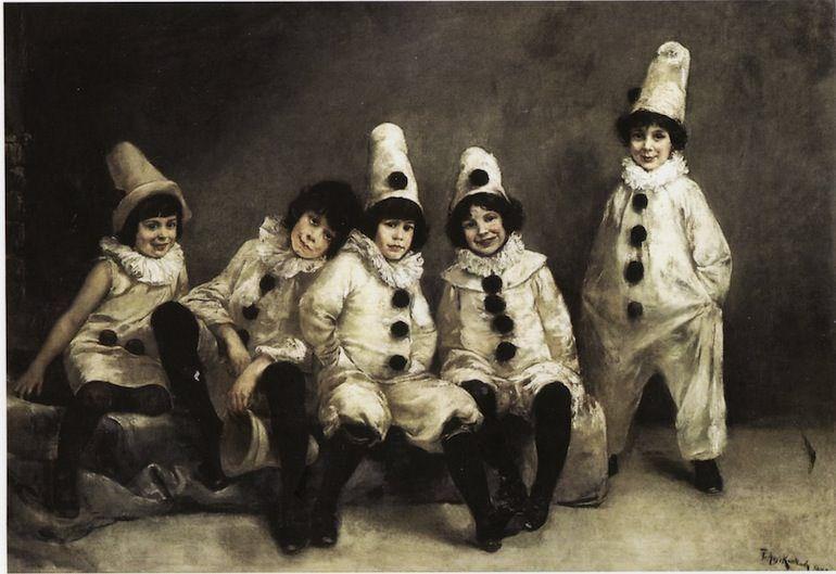Fritz August Kaulbach, «Kinderkarneval», 1888: i cinque bambini Pringsheim in costume di Pierrot e Katia Pringsheim, futura sposa di Thomas Mann