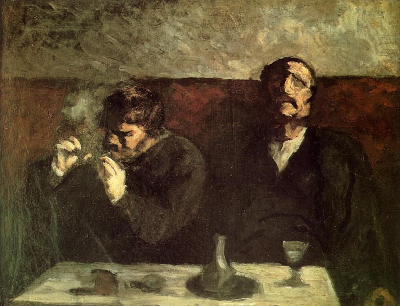 Honoré Daumier, «Deux hommes assis, ous les fumeurs», 1860