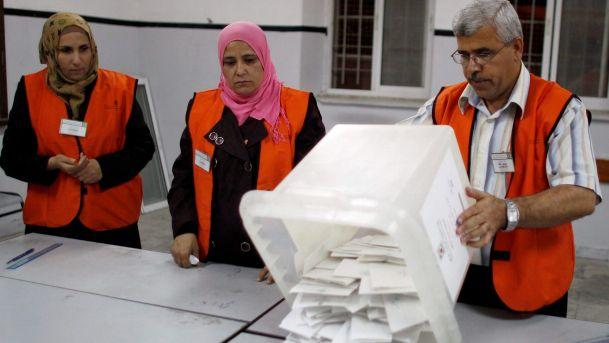 Un seggio elettorale in Cisgiordania